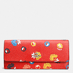 COACH F53967 Soft Wallet In Wild Prairie Print Coated Canvas SILVER/CARMINE WILD PRAIRIE