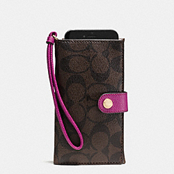 COACH F53975 Phone Clutch In Signature IMITATION GOLD/BROWN/FUCHSIA