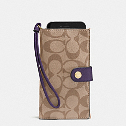 COACH F53975 Phone Clutch In Signature IMITATION GOLD/KHAKI AUBERGINE