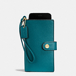 PHONE CLUTCH IN CROSSGRAIN LEATHER - f53977 - IMITATION GOLD/ATLANTIC