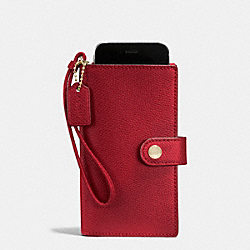 COACH F53977 Phone Clutch In Crossgrain Leather IMITATION GOLD/TRUE RED