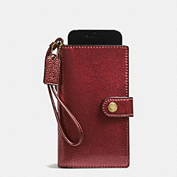 COACH F53977 Phone Clutch In Crossgrain Leather IMITATION GOLD/METALLIC CHERRY