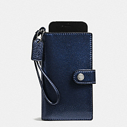COACH PHONE CLUTCH IN CROSSGRAIN LEATHER - SILVER/METALLIC MIDNIGHT - F53977