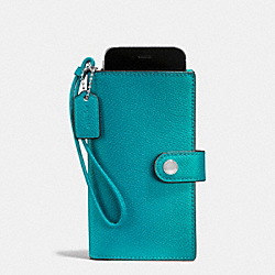 COACH F53977 Phone Clutch In Crossgrain Leather SILVER/TURQUOISE