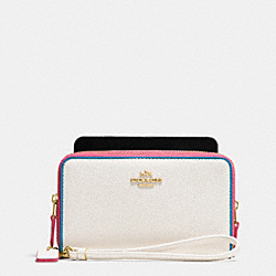 COACH F53979 Double Zip Phone Wallet In Edgestain Leather LIGHT GOLD/CHALK MULTI