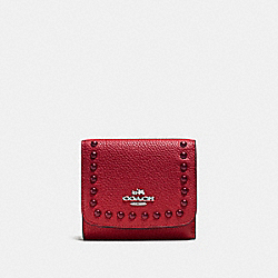 COACH F53990 - SMALL WALLET IN PEBBLE LEATHER WITH LACQUER RIVETS SILVER/RED CURRANT