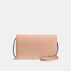 FOLDOVER CLUTCH CROSSBODY IN PEBBLE LEATHER - f54002 - IMITATION GOLD/NUDE PINK