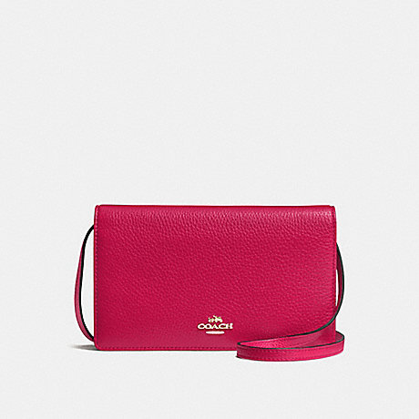COACH f54002 FOLDOVER CLUTCH CROSSBODY IN PEBBLE LEATHER IMITATION GOLD/BRIGHT PINK