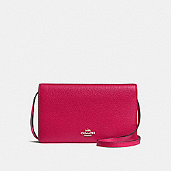 COACH FOLDOVER CLUTCH CROSSBODY IN PEBBLE LEATHER - IMITATION GOLD/BRIGHT PINK - F54002