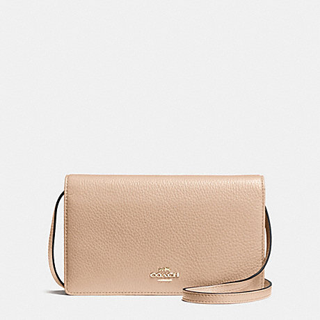 COACH f54002 FOLDOVER CLUTCH CROSSBODY IN PEBBLE LEATHER IMITATION GOLD/BEECHWOOD