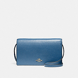 COACH F54002 Foldover Crossbody Clutch INK BLUE/LIGHT GOLD