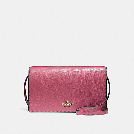 COACH f54002 FOLDOVER CROSSBODY CLUTCH LIGHT GOLD/ROUGE