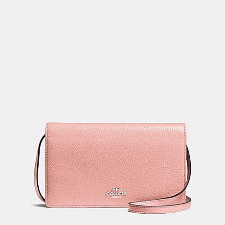 COACH f54002 FOLDOVER CLUTCH CROSSBODY IN PEBBLE LEATHER SILVER/BLUSH