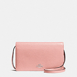 FOLDOVER CLUTCH CROSSBODY IN PEBBLE LEATHER - f54002 - SILVER/BLUSH