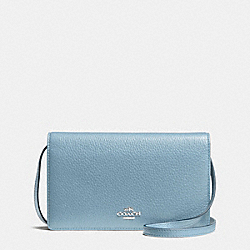 COACH FOLDOVER CLUTCH CROSSBODY IN PEBBLE LEATHER - SILVER/CORNFLOWER - F54002