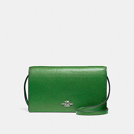 COACH f54002 FOLDOVER CROSSBODY CLUTCH SILVER/KELLY GREEN
