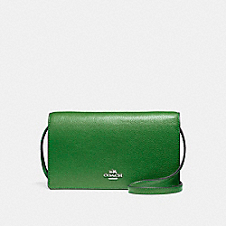 COACH F54002 - FOLDOVER CROSSBODY CLUTCH SILVER/KELLY GREEN