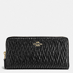 COACH F54003 Accordion Zip Wallet In Gathered Twist Leather IMITATION GOLD/BLACK