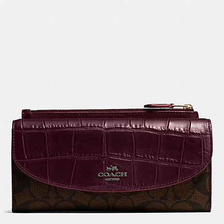 COACH f54004 POP SLIM ENVELOPE WALLET IN SIGNATURE WITH EXOTIC MIX TRIM BLACK ANTIQUE NICKEL/OXBLOOD