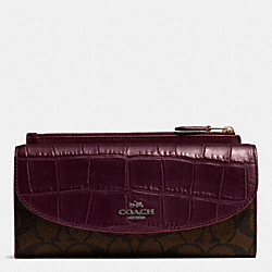 POP SLIM ENVELOPE WALLET IN SIGNATURE WITH EXOTIC MIX TRIM - f54004 - BLACK ANTIQUE NICKEL/OXBLOOD
