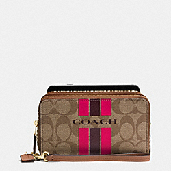 COACH VARSITY STRIPE DOUBLE ZIP PHONE WALLET IN SIGNATURE - f54005 - IMITATION GOLD/KHAKI/PINK RUBY