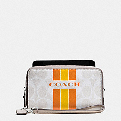 COACH VARSITY STRIPE DOUBLE ZIP PHONE WALLET IN SIGNATURE - f54005 - SILVER/CHALK ORANGE