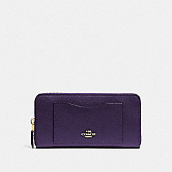 COACH F54007 Accordion Zip Wallet DARK PURPLE/IMITATION GOLD