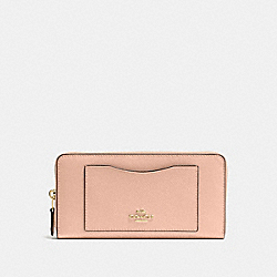 COACH F54007 Accordion Zip Wallet In Crossgrain Leather IMITATION GOLD/NUDE PINK