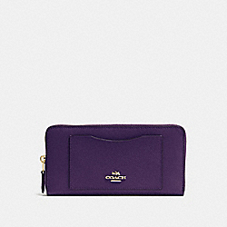 COACH F54007 Accordion Zip Wallet In Crossgrain Leather IMITATION GOLD/AUBERGINE