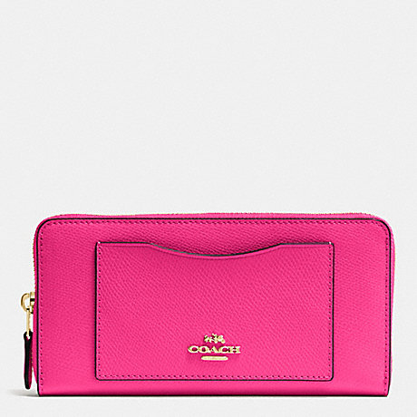 COACH f54007 ACCORDION ZIP WALLET IN CROSSGRAIN LEATHER IMITATION GOLD/PINK RUBY