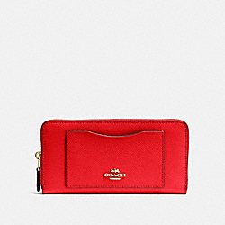 COACH F54007 - ACCORDION ZIP WALLET IM/BRIGHT RED