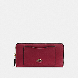 ACCORDION ZIP WALLET - F54007 - CHERRY /LIGHT GOLD