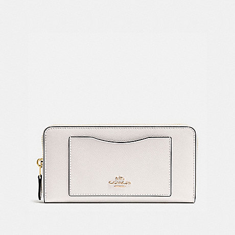 COACH f54007 ACCORDION ZIP WALLET IN CROSSGRAIN LEATHER IMITATION GOLD/CHALK