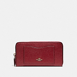 COACH F54007 Accordion Zip Wallet In Crossgrain Leather LIGHT GOLD/CRIMSON