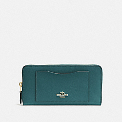 COACH F54007 Accordion Zip Wallet DARK TURQUOISE/LIGHT GOLD