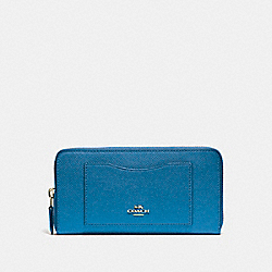 COACH F54007 Accordion Zip Wallet INK BLUE/LIGHT GOLD