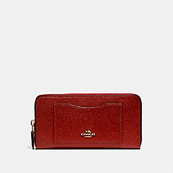 COACH F54007 Accordion Zip Wallet LIGHT GOLD/DARK RED