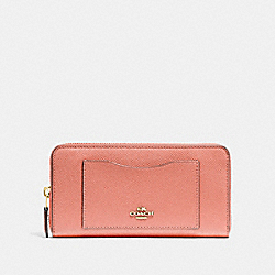 COACH F54007 - ACCORDION ZIP WALLET LIGHT CORAL/GOLD