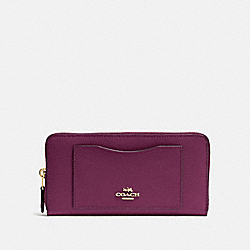 COACH F54007 Accordion Zip Wallet IM/DARK BERRY