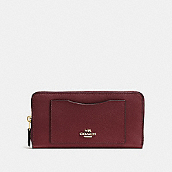 COACH F54007 Accordion Zip Wallet WINE/IMITATION GOLD