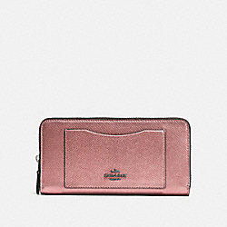 COACH F54007 - ACCORDION ZIP WALLET QB/METALLIC DARK BLUSH