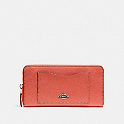 COACH F54007 - ACCORDION ZIP WALLET CORAL 2/SILVER
