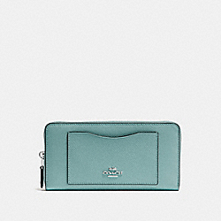COACH F54007 Accordion Zip Wallet SILVER/AQUAMARINE