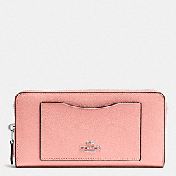 COACH F54007 Accordion Zip Wallet In Crossgrain Leather SILVER/BLUSH