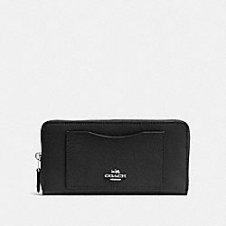 COACH F54007 - ACCORDION ZIP WALLET BLACK/SILVER