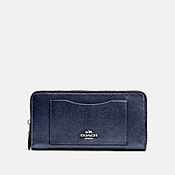 COACH F54007 Accordion Zip Wallet SV/METALLIC BLUE