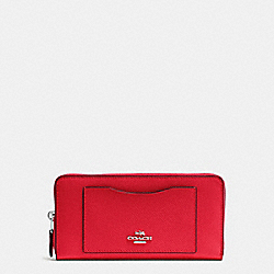 COACH F54007 Accordion Zip Wallet In Crossgrain Leather SILVER/BRIGHT RED