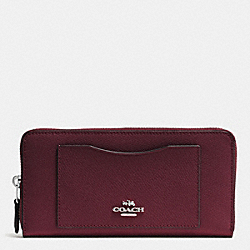 COACH F54007 Accordion Zip Wallet In Crossgrain Leather SILVER/BURGUNDY