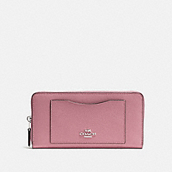 COACH F54007 Accordion Zip Wallet SILVER/DUSTY ROSE