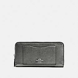 COACH F54007 Accordion Zip Wallet In Crossgrain Leather SILVER/GUNMETAL